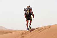 4th October 2021; Tisserdimine to Kourci Dial Zaid;  Marathon des Sables, stage 2 of  a six-day, 251 km ultramarathon, which is approximately the distance of six regular marathons. The longest single stage is 91 km long. This multiday race is held every year in southern Morocco, in the Sahara Desert. Gregory Herlez (FRA) enters the dunes