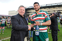 Chris Hopkinson, Head of Sales (Risk) presents the Man of the Match award to Steve Mafi of Leicester Tigers at the end of the LV= Cup Final match between Leicester Tigers and Northampton Saints at Sixways Stadium, Worcester on Sunday 18 March 2012 (Photo by Rob Munro, Fotosports International)