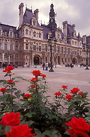 AJ0766, Paris, France, Europe, Hotel de Ville, Red roses adorn the grounds of the Hotel de Ville (City Hall) in Paris.