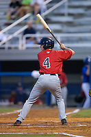 Sean Miller (4) of the Elizabethton Twins at bat against the Kingsport Mets at Hunter Wright Stadium on July 8, 2015 in Kingsport, Tennessee.  The Mets defeated the Twins 8-2. (Brian Westerholt/Four Seam Images)