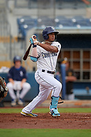 Charlotte Stone Crabs Wander Franco (1) at bat during a Florida State League game against the Bradenton Maruaders on August 7, 2019 at Charlotte Sports Park in Port Charlotte, Florida.  Charlotte defeated Bradenton 3-2 in the second game of a doubleheader.  (Mike Janes/Four Seam Images)
