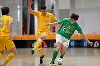 Jordan Joblin-Hall of Central and Matthew Brazier of Southern during the Men's Futsal SuperLeague, Central Futsal v Southern United Futsal at ASB Sports Centre, Wellington on Saturday 31 October 2020.<br /> Copyright photo: Masanori Udagawa /  www.photosport.nz