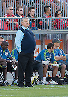 August 10, 2013: Seattle Sounders FC head coach Sigi Schmid watches the action during an MLS regular season game between the Seattle Sounders and Toronto FC at BMO Field in Toronto, Ontario Canada.<br /> Seattle Sounders FC won 2-1.