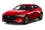 2019 Mazda Mazda3 Skycruise 5 Door Hatchback angular front stock photos of front three quarter view