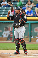 Miguel Olivo (30) of the Albuquerque Isotopes in action against the Salt Lake Bees at Smith's Ballpark on April 21, 2014 in Salt Lake City, Utah.  (Stephen Smith/Four Seam Images)