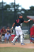 Emanuel Alicea (10) of Humacao High School in Humacao, Puerto Rico during the Under Armour Baseball Factory National Showcase, Florida, presented by Baseball Factory on June 13, 2018 the Joe DiMaggio Sports Complex in Clearwater, Florida.  (Nathan Ray/Four Seam Images)