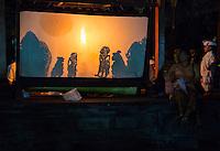 Denpasar, Bali, Indonesia.  Wayang Kulit (Shadow Puppet) Performance, Pura Jagatnatha Temple.