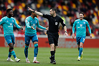 22nd May 2021; Brentford Community Stadium, London, England; English Football League Championship Football, Playoff, Brentford FC versus Bournemouth; Referee Jarred Gillett awarding a free kick to Brentford as Bournemouth argue the decision