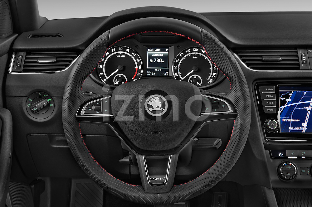 Car pictures of steering wheel view of a 2014 Skoda Octavia 2.0 CRTDI 135kw DSG6 RS 5 Door Wagon 2WD Steering Wheel