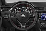 Car pictures of steering wheel view of a 2014 Skoda Octavia 2.0 CRTDI 135kw DSG6 RS 5 Door Wagon 2WD Steering Wheel
