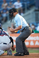 Home plate umpire Charlie Ramos works the International League game between the Scranton/Wilkes-Barre RailRiders and the Gwinnett Stripers at Coolray Field on August 16, 2019 in Lawrenceville, Georgia. The Stripers defeated the RailRiders 5-2. (Brian Westerholt/Four Seam Images)