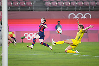 KASHIMA, JAPAN - AUGUST 5: Rose Lavelle #16 of the United States during a game between Australia and USWNT at Kashima Soccer Stadium on August 5, 2021 in Kashima, Japan.