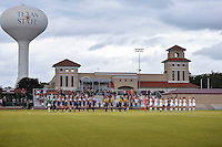 Texas State and TCU women's soccer teams listen to the national anthem before NCAA soccer game, Friday, September 12, 2014 in San Marcos, Tex. TCU defeated Texas State 1-0. (Mo Khursheed/TFV Media via AP Images)
