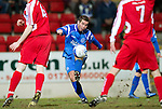 St Johnstone v Brechin....22.03.11  Scottish Cup Quarter Final replay.Peter MacDonald's shot at goal goes wide.Picture by Graeme Hart..Copyright Perthshire Picture Agency.Tel: 01738 623350  Mobile: 07990 594431