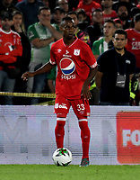 BOGOTÁ - COLOMBIA, 14-01-2019: Cristian Hinestroza, jugador de América de Cali, en acción, durante partido entre América de Cali y Atlético Nacional, por el Torneo Fox Sports 2019, jugado en el estadio Nemesio Camacho El Campin de la ciudad de Bogotá. / Cristian Hinestroza, player of America de Cali, in action, during a match between America de Cali and Atletico Nacional, for the Fox Sports Tournament 2019, played at the Nemesio Camacho El Campin stadium in the city of Bogota. Photo: VizzorImage / Luis Ramírez / Staff.