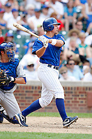 August 9, 2009:  First Baseman Steve Clevenger of the Iowa Cubs during a game at Wrigley Field in Chicago, IL.  Iowa is the Pacific Coast League Triple-A affiliate of the Chicago Cubs.  Photo By Mike Janes/Four Seam Images