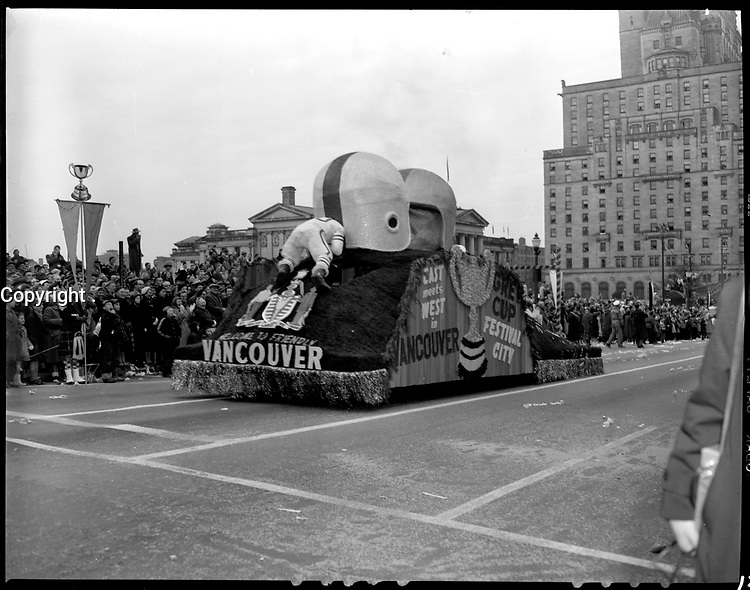 1955 Grey Cup parade<br />  in Vancouver, BC.<br /> <br /> <br /> Photo via Agence Quebec Presse