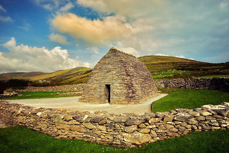 Gallarus Oratory and clouds. Slea Head Drive. Dingle Peninsula, Ireland