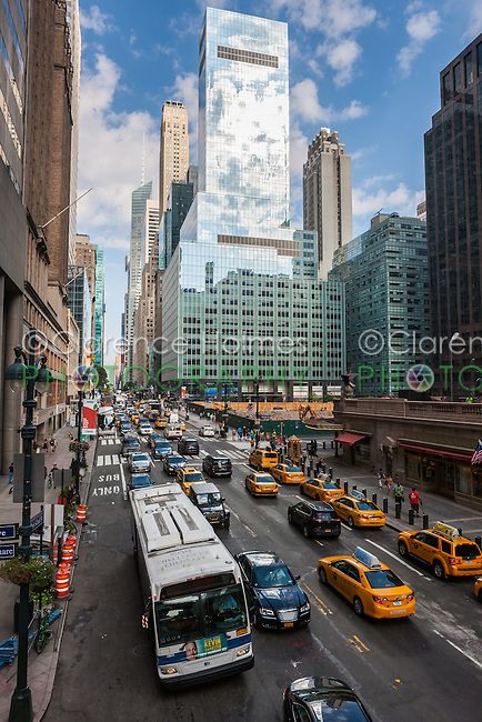 A view of traffic on 42nd street in mid-town Manhattan in New York City.