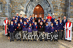 past pupils from Monastery NS with Fr Jim Lenihan, Fr Niall Howard and Fr Kieran O'Brien  Colm O Suilleabhain Principal teachers Mary Brosnan and Andrew Garnett after the made their Confirmation in St Marys Cathedral on Friday