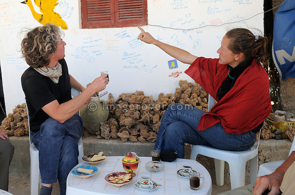 Africa, Tunisia, between Ksar Rhilane and Douz. Desert tourists Andrea and Stephan enjoying coffee and biscuits in Cafe Jilili, a typical roadside coffee shop. --- No releases available, but releases may not be needed for certain uses. --- Info: Image belongs to a series of photographs taken on a journey to southern Tunisia in North Africa in October 2010. The trip was undertaken by 10 people driving 5 historic Series Land Rover vehicles from the 1960's and 1970's. Most of the journey's time was spent in the Sahara desert, especially in the area around Douz, Tembaine, Ksar Ghilane on the eastern edge of the Grand Erg Oriental.