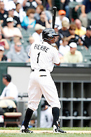 Chicago White Sox Juan Pierre #1 during a game against the Kansas City Royals at U.S. Cellular Field on August 14, 2011 in Chicago, Illinois.  Chicago defeated Kansas City 6-2.  (Mike Janes/Four Seam Images)