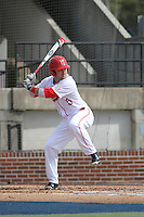 Ball State Cardinals infielder Ryan Spaulding (6) at bat during a game against the University of Kentucky Wildcats at Brooks Field on the campus of University of North Carolina-Wilmington on February 13, 2015 in Wilmington, North Carolina. Kentucky defeated Ball State 11-7. (Robert Gurganus/Four Seam Images)