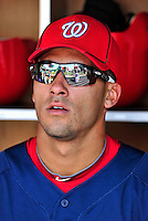 22 April 2010: Washington Nationals' shortstop Ian Desmond sits in the dugout prior to a game against the Colorado Rockies at Nationals Park in Washington, DC. The Nationals were shut out by the Rockies 2-0 closing out their series with a 2-2 game split. Mandatory Credit: Ed Wolfstein Photo