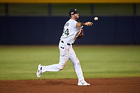 Peoria Javelinas second baseman C.J. Chatham (24), of the Boston Red Sox organization, throws to first base during an Arizona Fall League game against the Surprise Saguaros on September 22, 2019 at Peoria Sports Complex in Peoria, Arizona. Surprise defeated Peoria 2-1. (Zachary Lucy/Four Seam Images)