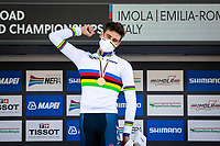 Picture by Alex Whitehead/SWpix.com - 25/09/2020 - Cycling - 2020 UCI Road World Championships - Imola, Emilia-Romagna, Italy - Filippo Ganna of Italy wins Gold in the Elite Men's Time Trial. - TISSOT - SHIMANO - MAPEI - SANTINI