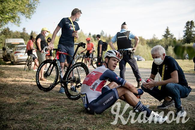 Jasper Stuyven (BEL/Trek Segafredo) digged deep to finish 3rd<br /> <br /> Stage 19 from Bourg-en-Bresse to Champagnole (167km)<br /> <br /> 107th Tour de France 2020 (2.UWT)<br /> (the 'postponed edition' held in september)<br /> <br /> ©kramon