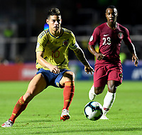 SAO PAULO – BRASIL, 19-06-2019: James Rodríguez de Colombia en acción durante partido de la Copa América Brasil 2019, grupo B, entre Colombia y Catar jugado en el Estadio Morumbí de Sao Paulo, Brasil. / James Rodriguez of Colombia in action during the Copa America Brazil 2019 group B match between Colombia and Qatar played at Morumbi stadium in Sao Paulo, Brazil. Photos: VizzorImage / Julian Medina / Contribuidor