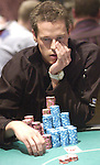 Patrick Antonius ponders a move on the next to last day of tournament.