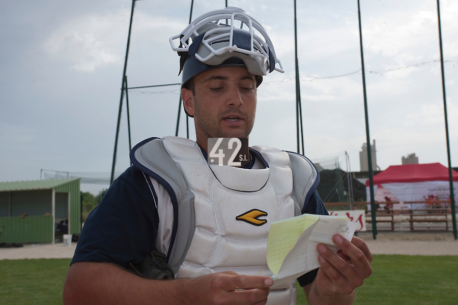 22 May 2009: Jean-Michel Mayeur of Montpellier is seen prior to a game against Senart during the 2009 Challenge de France, a tournament with the best French baseball teams - all eight elite league clubs - to determine a spot in the European Cup next year, at Montpellier, France. Senart wins 7-1 over Montpellier.