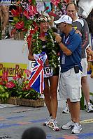 womens winner, 107, 30 year old Chrissie Wellington of Feltwell, Great Britain, winning time, 9:08:45, 2007 Ford Ironman Triathlon World Championship,, Kailua Kona, Big Island, Hawaii, USA, Pacific Ocean