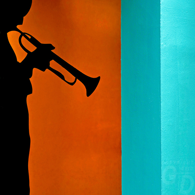 Wall Mural of a trumpet Player City-Urban painting on a wall in Singapore