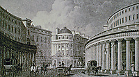 The Quadrant, Regent Street. London. 1827. Historical photo.
