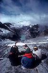 Climbing team, North Cascades National Park, National Outdoor Leadership School climbers, Cascade Mountains, Washington State, Pacific Northwest, U.S.A., map reading, topography, North Ridge, Forbidden Peak, Moraine Lake.