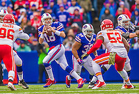 9 November 2014: Buffalo Bills quarterback Kyle Orton drops back to pass against the Kansas City Chiefs at Ralph Wilson Stadium in Orchard Park, NY. The Chiefs rallied with two fourth quarter touchdowns to defeat the Bills 17-13. Mandatory Credit: Ed Wolfstein Photo *** RAW (NEF) Image File Available ***