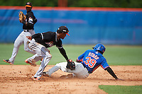 GCL Mets second baseman Cecilio Aybar (39) slides into second as Garvis Lara applies the tag during the first game of a doubleheader against the GCL Marlins on July 24, 2015 at the St. Lucie Sports Complex in St. Lucie, Florida.  GCL Marlins defeated the GCL Mets 5-4.  (Mike Janes/Four Seam Images)