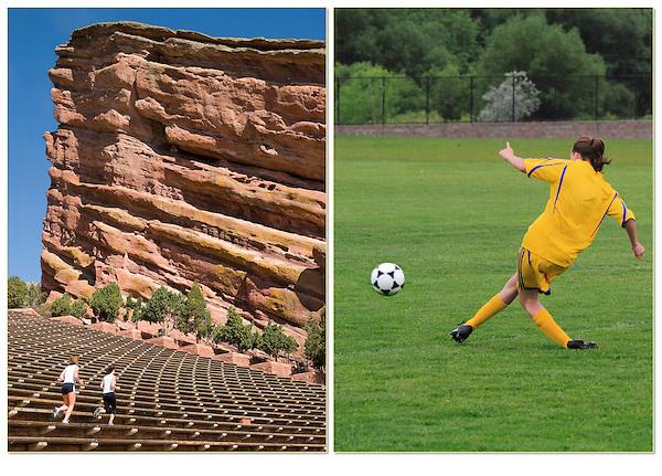 Women running at Red Rocks Amphitheater, girl playing soccer, Golden, Colorado.