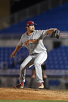 Clearwater Threshers pitcher Lee Ridenhour (51) delivers a pitch during a game against the Dunedin Blue Jays on April 10, 2015 at Florida Auto Exchange Stadium in Dunedin, Florida.  Clearwater defeated Dunedin 2-0.  (Mike Janes/Four Seam Images)