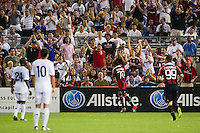 Robinho (70) of A. C. Milan celebrates scoring. Real Madrid defeated A. C. Milan 5-1 during a 2012 Herbalife World Football Challenge match at Yankee Stadium in New York, NY, on August 8, 2012.