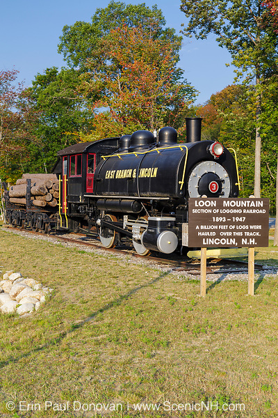 The East Branch & Lincoln Railroad's Porter 50 ton saddle tank engine locomotive on display at Loon Mountain along the Kancamagus Scenic Byway in Lincoln, New Hampshire during the late months of summer.