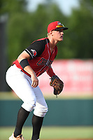 Josh Jung (15) of the Hickory Crawdads in action during a game against the Kannapolis Intimidators at L.P. Frans Stadium on July 16, 2019 in Hickory, North Carolina. The Crawdads defeated the Intimidators 5-4. (Tracy Proffitt/Four Seam Images)