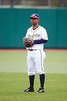 Montgomery Biscuits second baseman Hector Guevara (13) warms up before a game against the Jackson Generals on April 29, 2015 at Riverwalk Stadium in Montgomery, Alabama.  Jackson defeated Montgomery 4-3.  (Mike Janes/Four Seam Images)