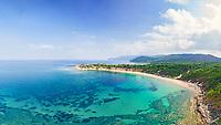 The beach Mandraki of Skiathos island from drone view, Greece