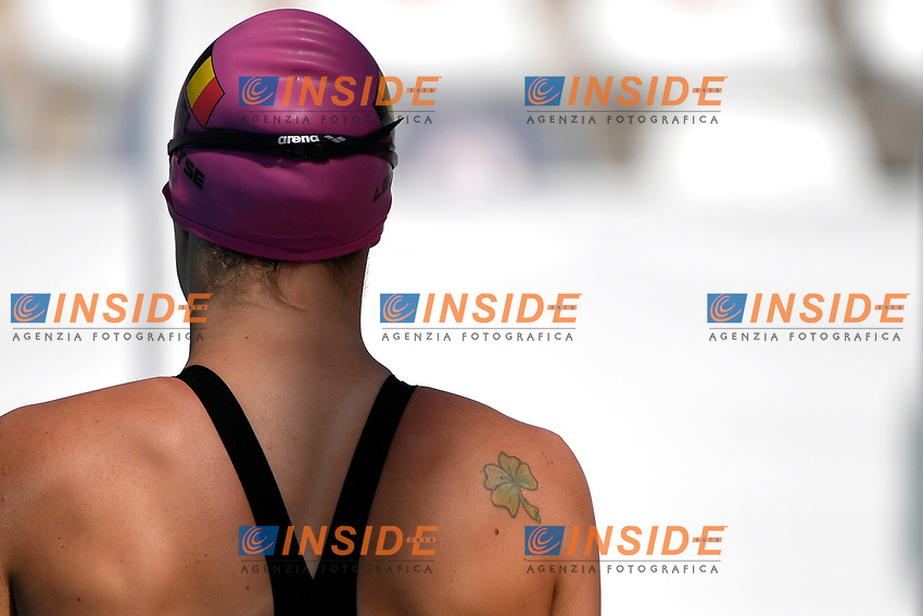 Fanny Lecluyse of Belgium prepares to compete in the women 100m breaststroke during the 58th Sette Colli Trophy International Swimming Championships at Foro Italico in Rome, June 25th, 2021. Fanny Lecluyse placed first in her heat.