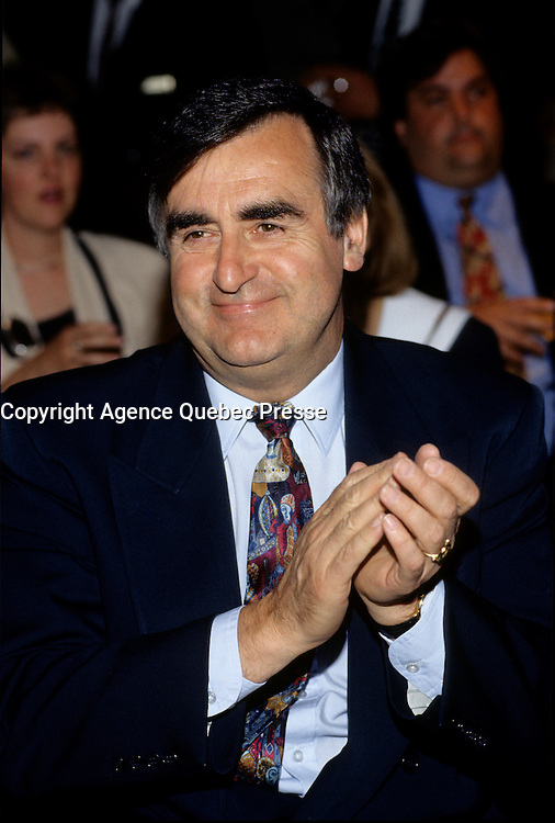 """Montreal (Qc) CANADA - File Photo - May 1996 -<br /> <br /> Lucien Bouchard,  Leader Parti Quebecois (from Jan 29, 1996 to March 2, 2001). seen in a May 1996 file photo<br /> <br /> After the Yes side lost the 1995 referendum, Parizeau resigned as Quebec premier. Bouchard resigned his seat in Parliament in 1996, and became the leader of the Parti QuÈbÈcois and premier of Quebec.<br /> <br /> On the matter of sovereignty, while in office, he stated that no new referendum would be held, at least for the time being. A main concern of the Bouchard government, considered part of the necessary conditions gagnantes (""""winning conditions"""" for the feasibility of a new referendum on sovereignty), was economic recovery through the achievement of """"zero deficit"""". Long-term Keynesian policies resulting from the """"Quebec model"""", developed by both PQ governments in the past and the previous Liberal government had left a substantial deficit in the provincial budget.<br /> <br /> Bouchard retired from politics in 2001, and was replaced as Quebec premier by Bernard Landry."""