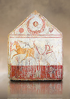 Lucanian fresco tomb painting of a man hunting deer with a wreath of pomegranates in the top panel. Paestrum, Andriuolo. Tomb n. 1 Plundered Furnishings.  (375-350 BC)